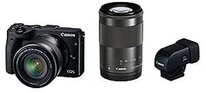 Canon ミラーレス一眼カメラ EOS M3 ダブルズームEVFキット(ブラック) EF-M18-55mm F3.5-5.6 IS STM EF-M55-200mm F4.5-6.3 IS STM 付属 EOSM3BK-WZEVFK