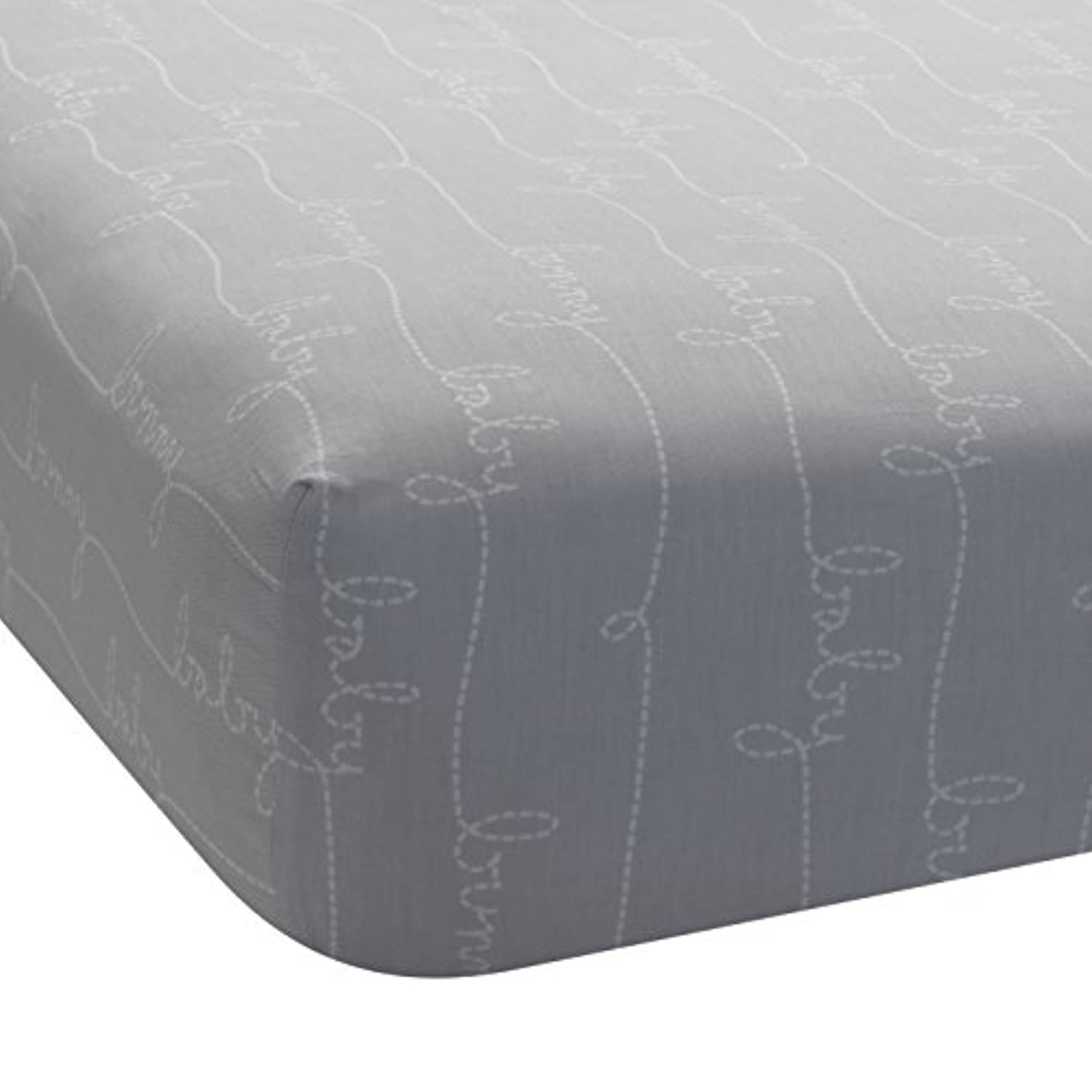 Lambs & Ivy Bunny Collection Fitted Sheet, Gray Script by Lambs & Ivy