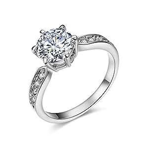 Bella Barry レディース 婚約指輪 k18 ホワイトゴールド メッキ cz ダイヤ プロポーズリング 1.5ct 7号