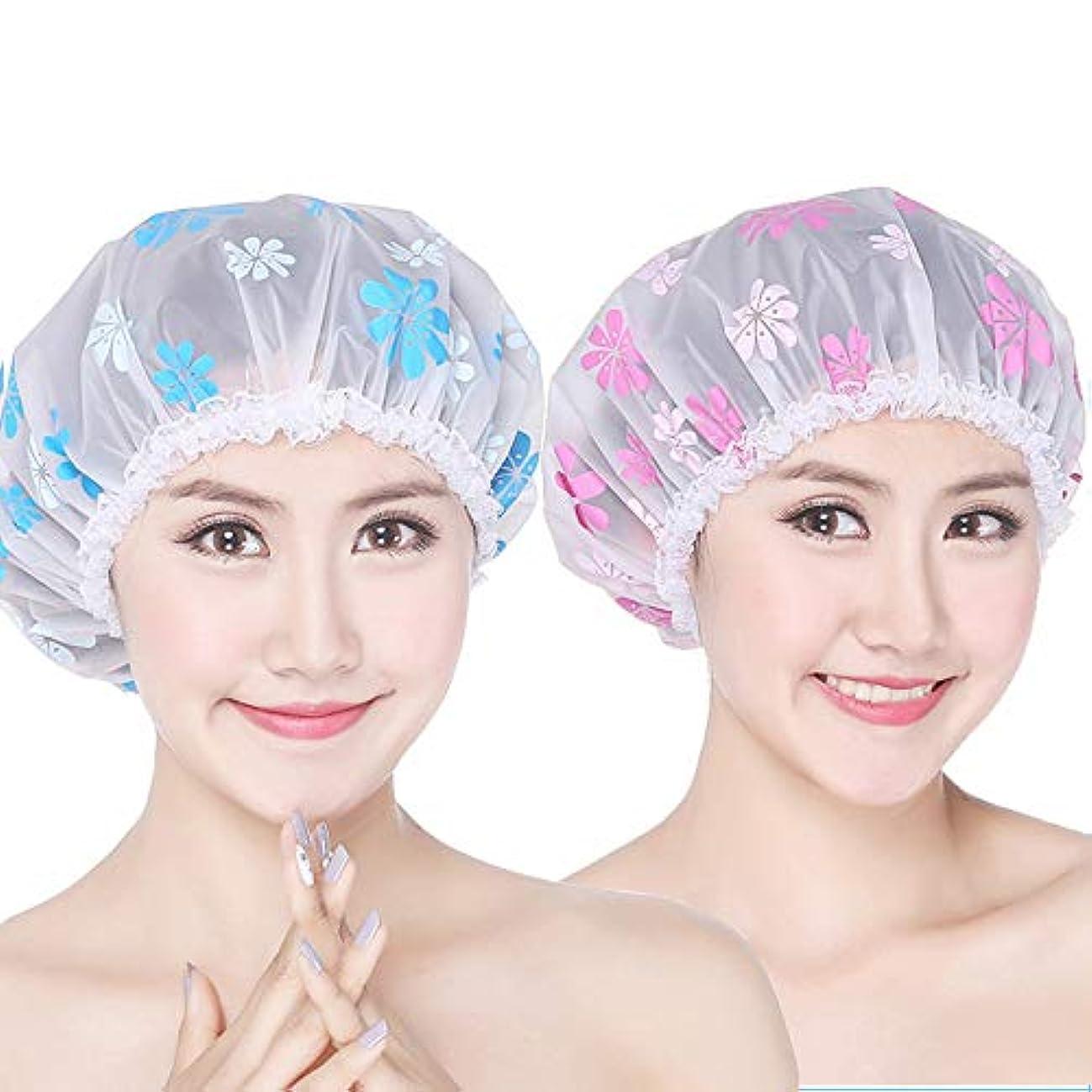 確かに比べる医師Tyou 高品質シャワーキャップ バス用品 かわいい シャワーキャップ ヘアキャップ ヘアーキャップ ヘアーターバン 入浴キャップ 帽子 お風呂 シャワー用に 2枚セット
