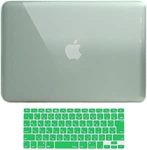 MS factory MacBook Pro 15 ケース カバー + 日本語 キーボードカバー マックブックプロ 15インチ ハードケース Pro15 Mid 2009 ~ Mid 2012 A1286 ディスクスロット搭載 全11色 クリスタル グリーン 緑 RMC series RMC-SETP15XGRN