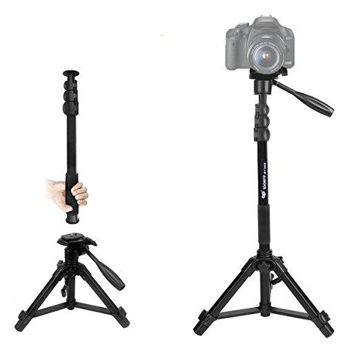 Eienn 三脚 一脚可変式 2段・4段 3Way雲台 水準器付き アルミ製 クイックシュー式 カメラ・スマホ対応 ミニ 軽量 コンパクト キャリングバッグ 日本語説明書付き