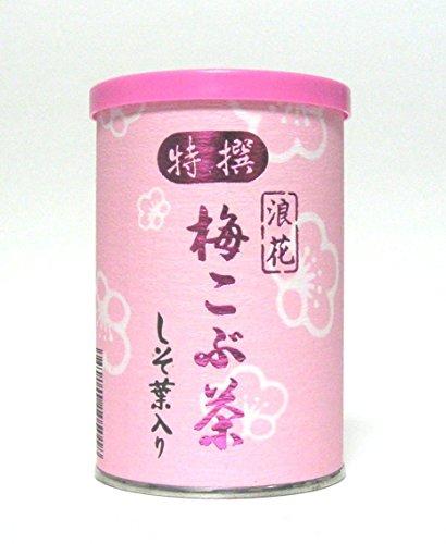 特選 しそ葉入り 浪花 梅こぶ茶 80g缶入り (40g×2袋)