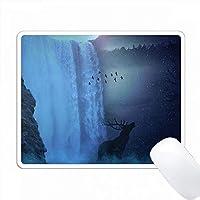 ムーンライトの滝と野生動物 PC Mouse Pad パソコン マウスパッド