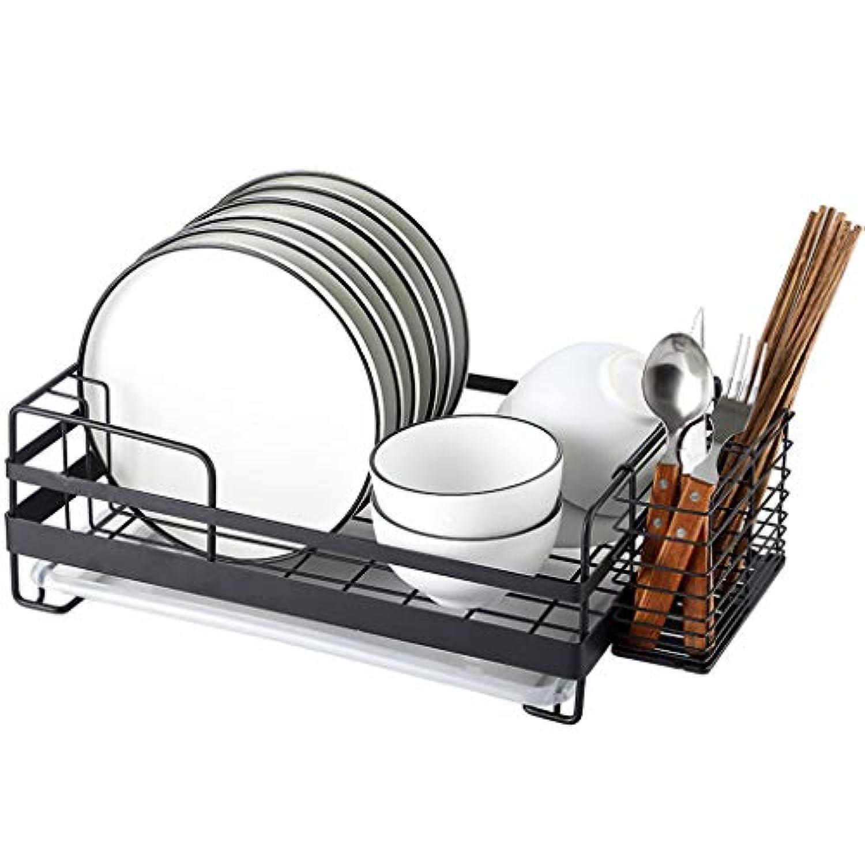 食器ラック排水ラック304ステンレス鋼食器ラック単層 (色 : 黒)
