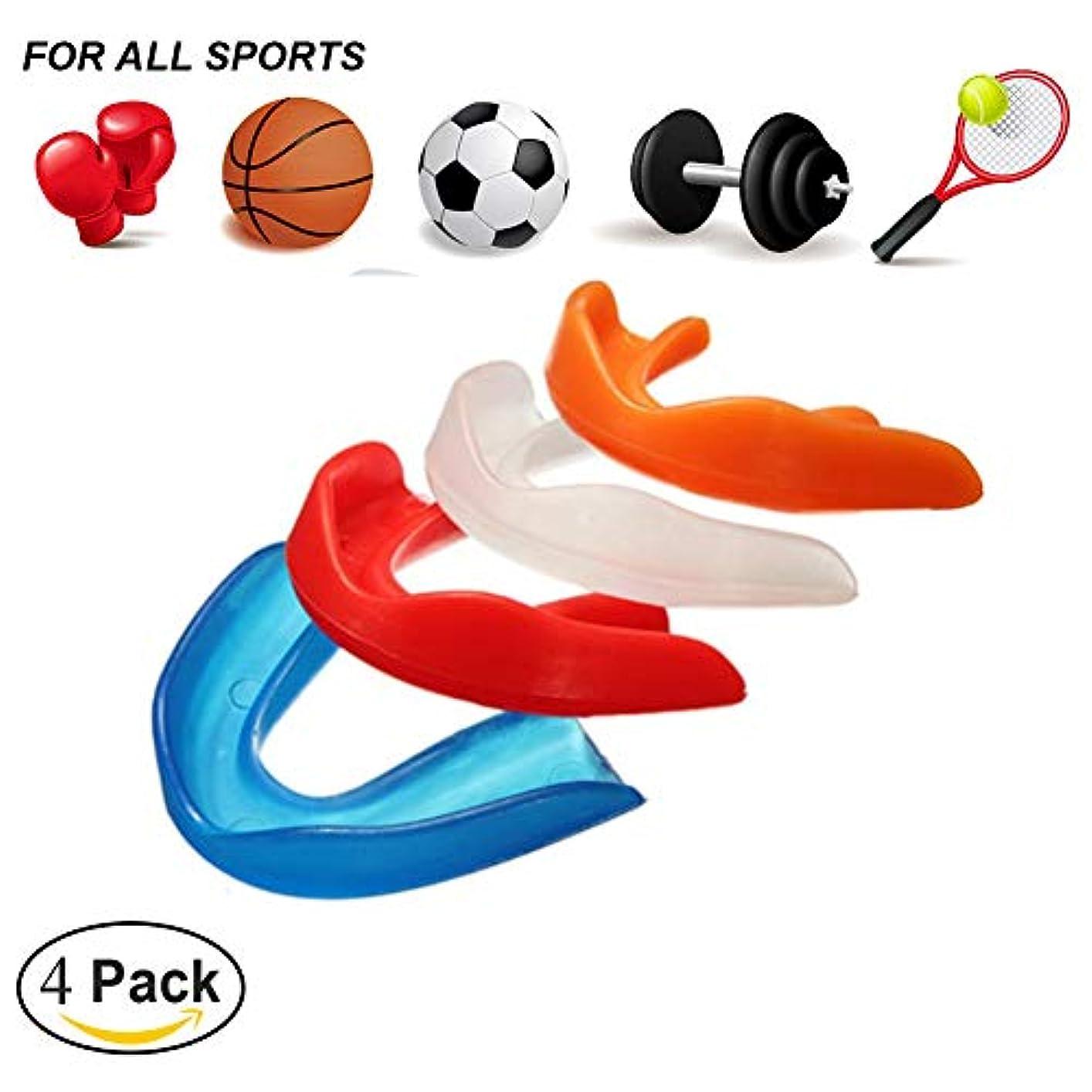 記述するフラフープファンスポーツ用マウスピース,テコンドーボクシングの保護のための歯の装甲は口のサイズに合います(4パック)