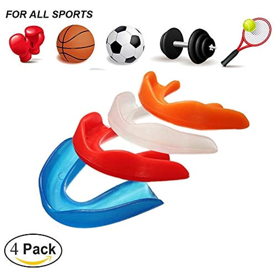 サイバースペーススティーブンソン大学スポーツ用マウスピース,テコンドーボクシングの保護のための歯の装甲は口のサイズに合います(4パック)