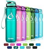 Grsta Sport Water Bottle - 1リットル&800ml&600mlスポーツボトル、リーク防止、再利用可能なBPAフリーのプラスチック製Tritan Detoxウォーターボトル(ジム、スポーツ用)(Aquamarine-1000ml)