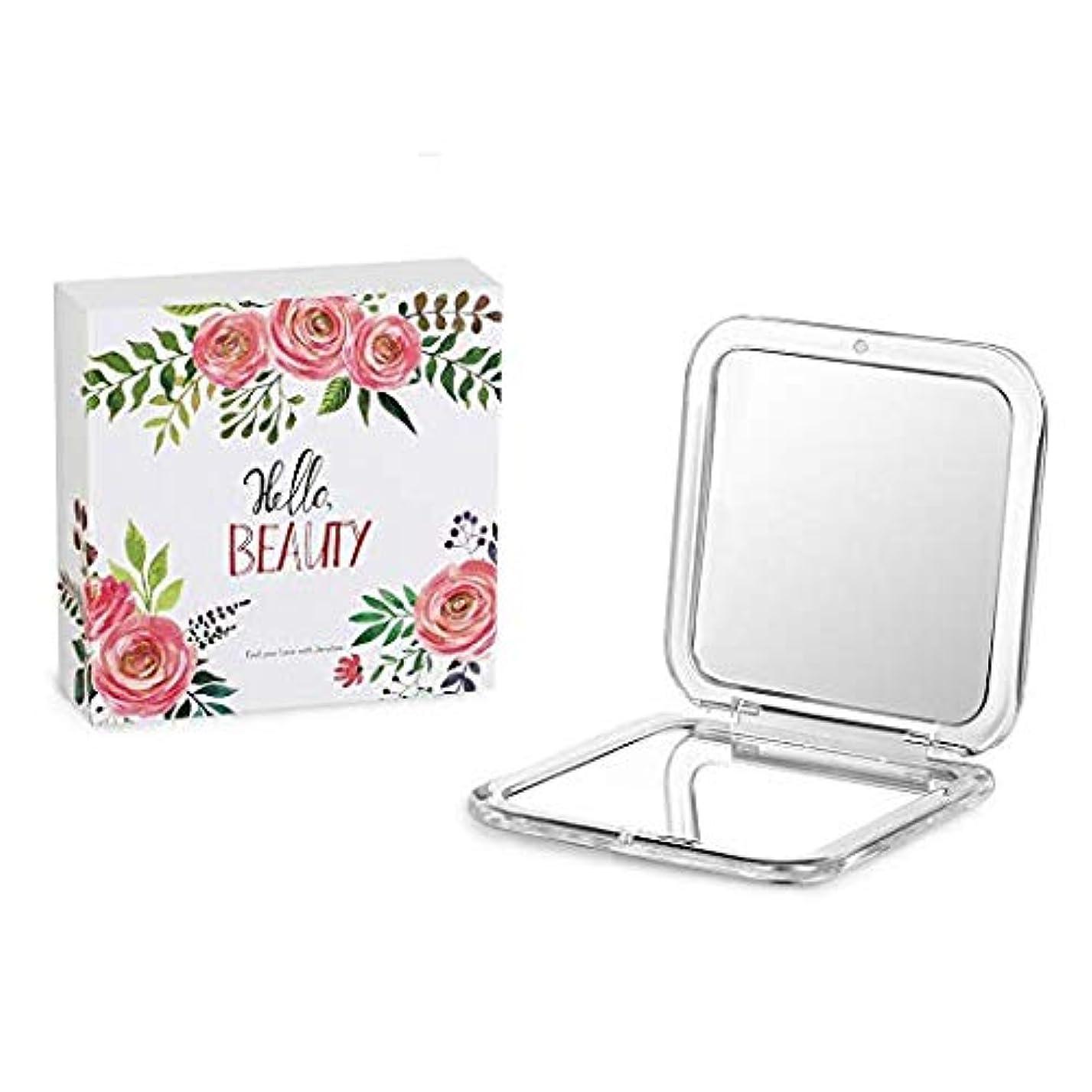 麺チャンバー財布Jerrybox コンパクト鏡 拡大鏡 両面コンパクトミラー 携帯ミラー 折りたたみ鏡 (5倍と等倍両面鏡)
