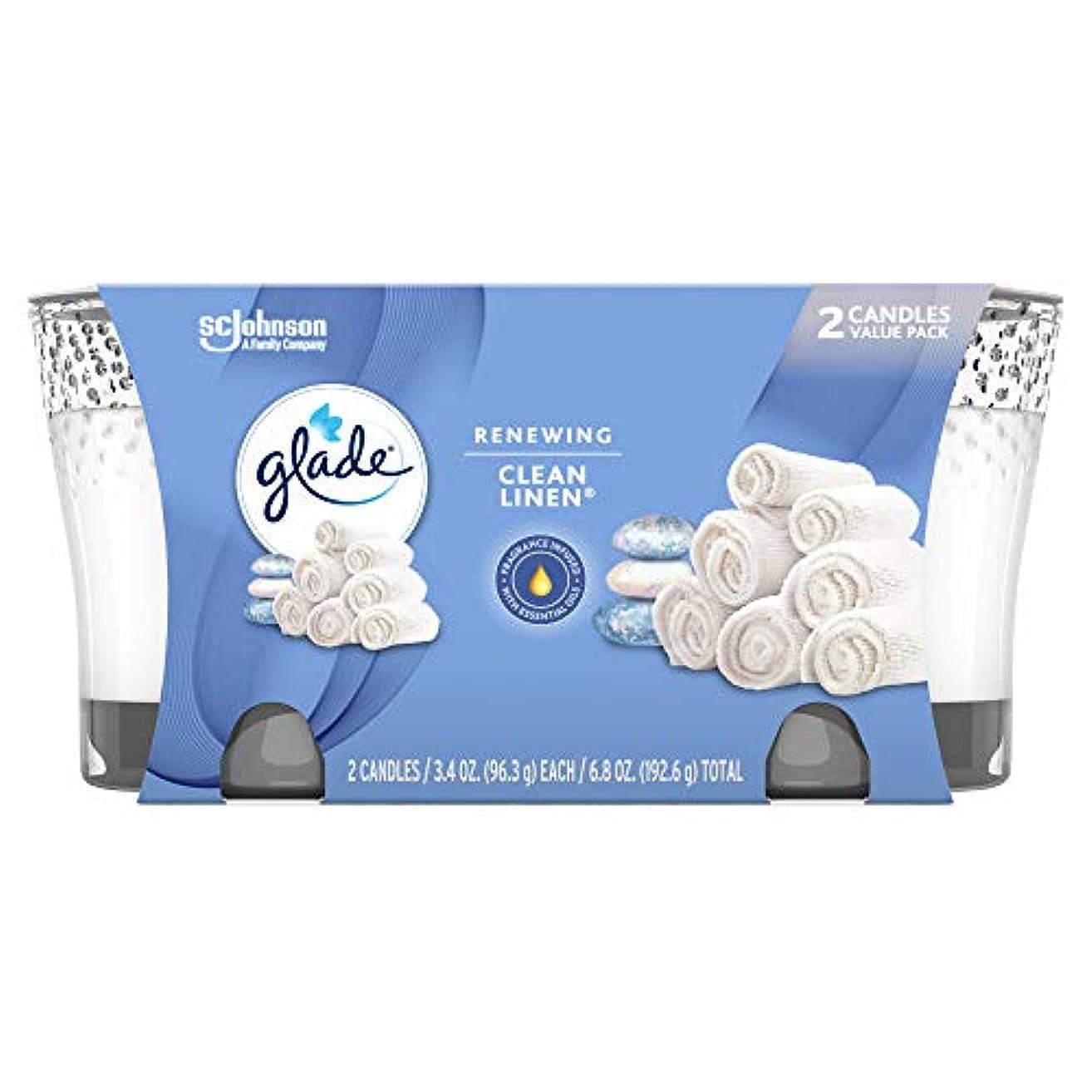 原子パースマンハッタンGlade Jar Candle Air Freshener, Clean Linen, 2 count, 6.8 Ounce by Glade