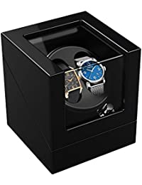 TRIPLE TREE ワインディングマシーン 腕時計自動巻き器 ウォッチワインダー マブチモーター 腕時計 時計 2本巻き上げ ピアノ鏡面仕上 静音設計 ブラック 12ヶ月保証期間
