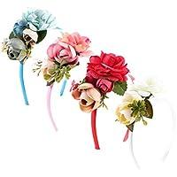 Dovewill 可愛い DIY 花嫁 フラワー クラウン ヘッドバンド ガーランド ヘアアクセサリー 4個セット