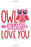 Owl Always Love You: Cute Owl Notebook Journal Diary for everyone - special animal with red hearts, arrow, white background