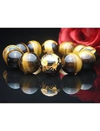 【ハヤシ ザッカ】 HAYASHI ZAKKA ●AAA18ミリ数珠?ブレスレット ( 手彫金箔入り風水四神獣オニキス?タイガーアイ) 104A
