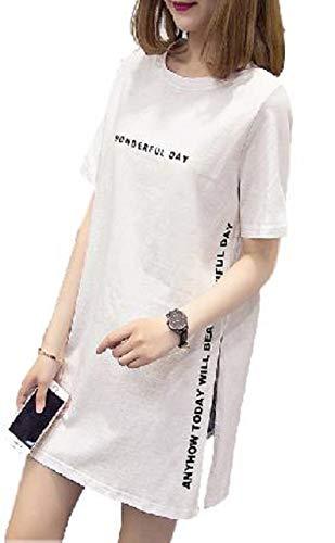 37cf628f956101 [レリカ] ゆったり 半袖 Tシャツ ロング ミニ ワンピース レディース 白シャツ ティシャツ ティー