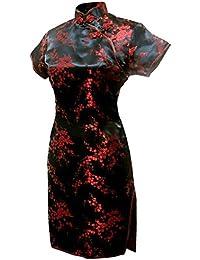 (上海物語)Shanghai Story 梅の花柄 半袖 カラー ミニ チャイナドレス(レディース、女性用)ドラゴン パーティー ワンピース ショート丈 スリット ワンピ ドレス