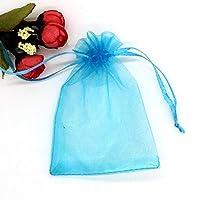 100透明収納袋 - プル/小さなギフトバッグ巾着、可能なオーガンジー生地/ソフトタッチ/複数のサイズで ギフトバッグと組織 (Color : Blue, Size : 15*20CM)