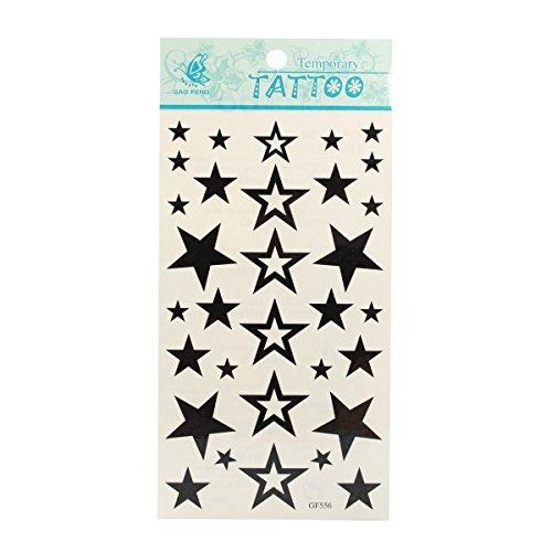 タトゥーシール 星 STAR スター黒塗り 白抜き