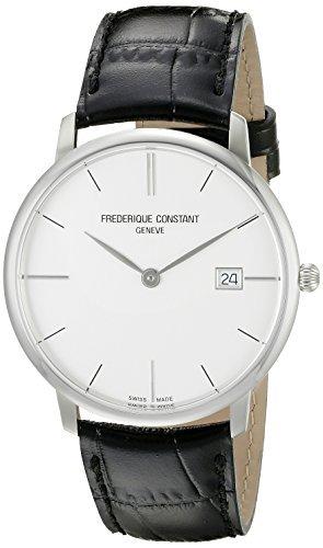 フレデリックコンスタント Frederique Constant Men's FC220S5S6 Slim Line Analog Display Swiss Quartz Black Watch [並行輸入品]