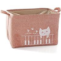 [スゴフィ]SGFY 収納バスケット 収納袋 折りたたみ かご 洗濯物入れコットンバスケット ランドリーボックス 軽量 雑貨 おもちゃ 猫柄 (ピンク)