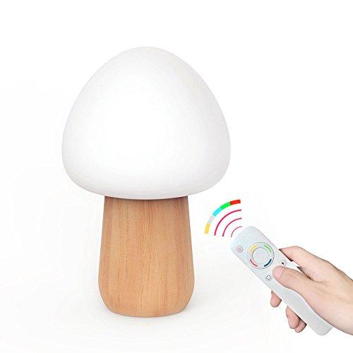 Quarice LEDナイトライト キノコ形の木製 エコの材...