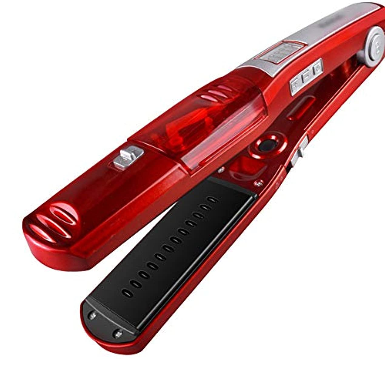 バース不可能な構造調節可能な温度の2つの1つの毛のストレートナそしてカーラー、陶磁器の版が付いている蒸気のストレートナ モデリングツール (色 : レッド)