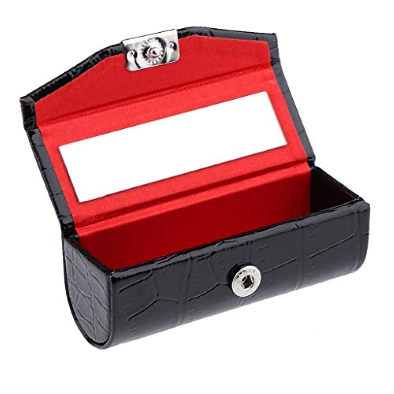 ビール行為太平洋諸島IPOTCH レザー リップスティックケース 口紅ホルダー ミラー 収納ボックス 多色選べ - ブラック