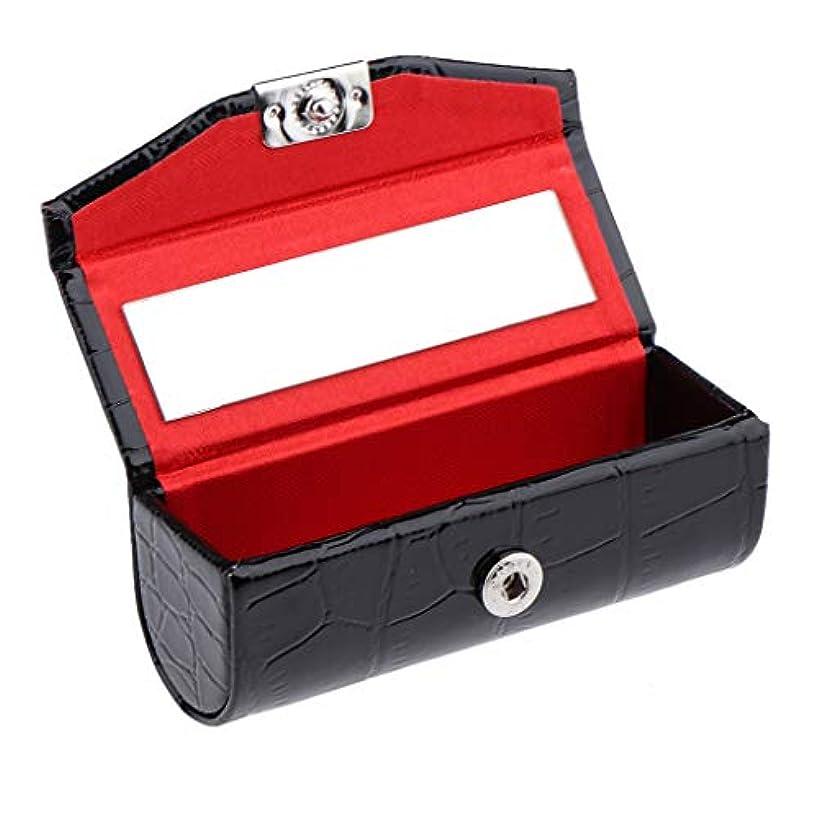 髄偽装する故国IPOTCH レザー リップスティックケース 口紅ホルダー ミラー 収納ボックス 多色選べ - ブラック
