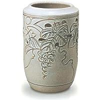 信楽焼陶器 傘立 ぶどう透し彫 かすみ釉 B 高48cm MA345