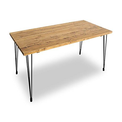 LOWYA (ロウヤ) テーブル パイン無垢材 天然木 スチール脚 デスク ダイニングテーブル 幅140cm ライトブラウン おしゃれ 新生活