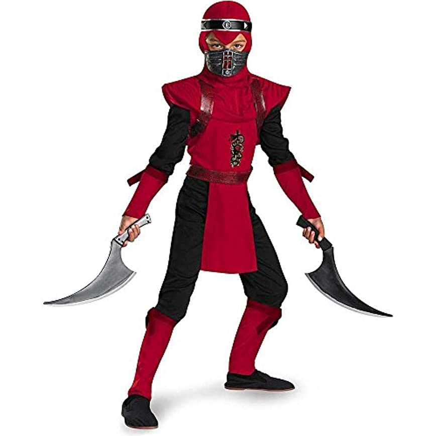 Disguise DI50534 -I_S Red Viper Ninja Deluxe Costume For Kids Small