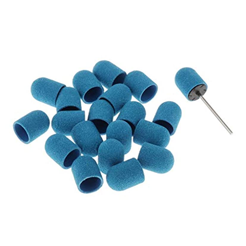 少年ファッション呪いSM SunniMix ネイルアート マニキュア ネイルファイル サンディングキャップ ネイルヘッド 20本セット 全5カラー - 青
