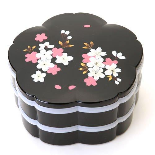 紀州塗り 桜型 二段オードブル重箱 桜花 ブラック