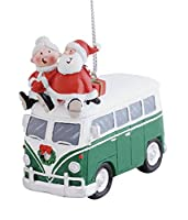 Santa and Mrs. Claus Riding on Top of Vw Bus Christmas Holiday Ornament 【Creative Arts】 [並行輸入品]