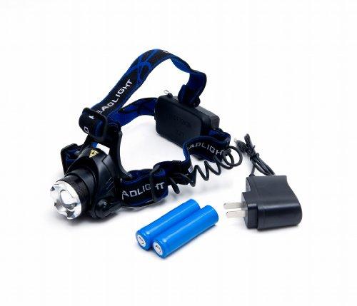 LEDヘッドライト 生活防水 充電式 CREE XM-L T6 LEDヘッドランプ ズーム 角度調整可能 1800ルーメン 3段階点灯 夜の作業 夜釣り アウトドアに 【充電器+18650電池(保護回路付き)×2本サービス】日本語説明書付き