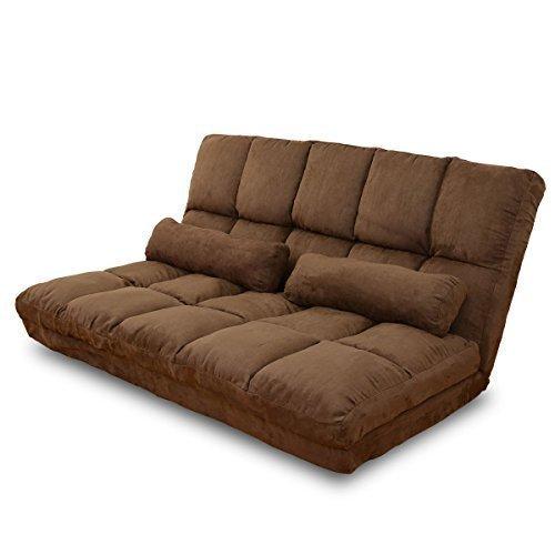 DORIS ソファーベッド 2人掛け 幅130 ローソファ リクライニング ブラウン リーフ フロントギア