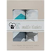 SAL & SIS 2-PACK SWADDLE BLANKETS 70% BAMBOO 30% COTTON MUSLIN BLANKETS CHEVRONS AND STARS [並行輸入品]