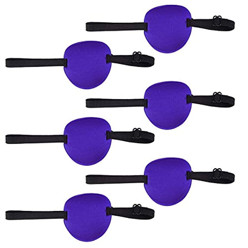 怖いインタラクションパンチHealifty 弱視の目のパッチ大人と子供のための調節可能な弾性バックル付き6個の片目スポンジアイパッチ(ブルー)