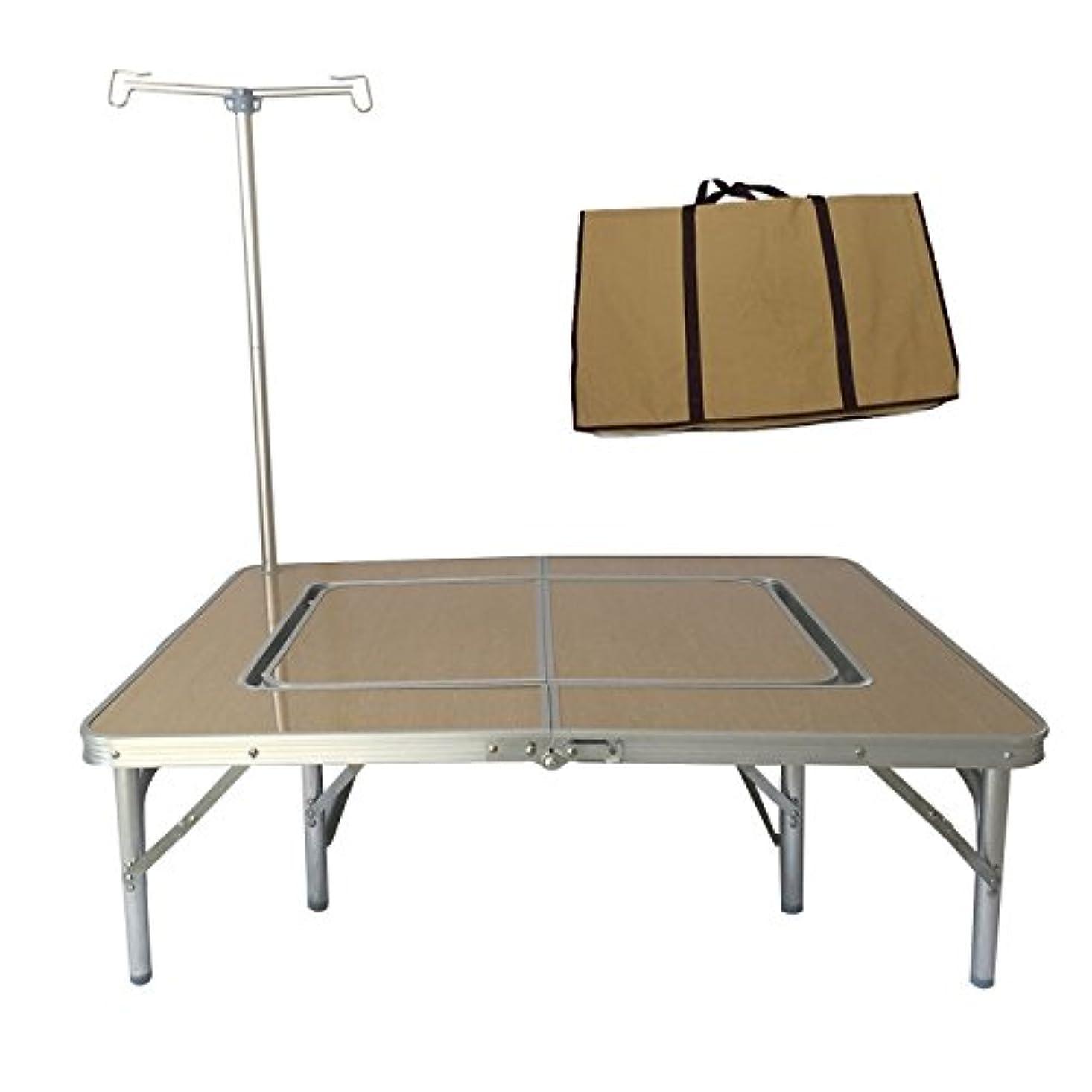 試みる倒産女将アウトドアローテーブル 2Wayテーブル ベージュ 収納袋付き ランタンスタンド付き テーブルスタイル 囲炉裏スタイル [1~6人用] [並行輸入品]