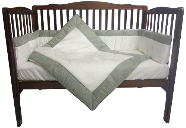 Baby Doll Bedding Zuma 3 Piece Crib Bedding Set, Grey/White by BabyDoll Bedding
