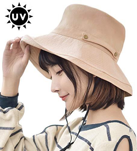 UVカット 帽子 T WILKER レディース uv防晒帽 熱中症予防 女優帽 日よけ ハット 取り外すあご紐 収納ベルト 折りたたみ つば広 調節テープ 吸汗通気 紫外線対策 おしゃれ 高級感 (カーキ)