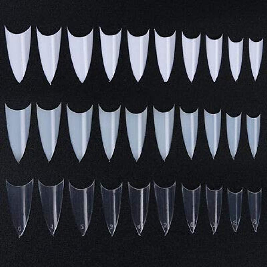 霧クラブ広範囲FidgetGear 500個のフレンチハーフネイルのヒントシャープポインテッド10サイズクリアホワイトナチュラルデザイン 3色