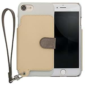 <iPhone 7用> RAKUNI (ラクニ) 本革 背面ポケット型ケース/前面むきだし/ストラップ付き/スタンド機能/財布がわりに (バニラ)