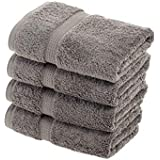 "Superior 900 GSM Luxury Bathroom Hand Towels, Made of 100% Premium Long-Staple Combed Cotton, Set of 4 Hotel & Spa Quality Hand Towels - Charcoal, 20"" x 30"" each"