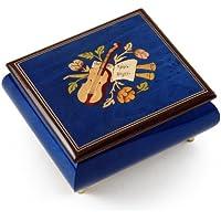 Inspiringロイヤルブルー音楽テーマwith Violin Wood Inlay音楽ボックス 429. When You Wish Upon A Star ゴールド MBA17MUSVIOLINDB