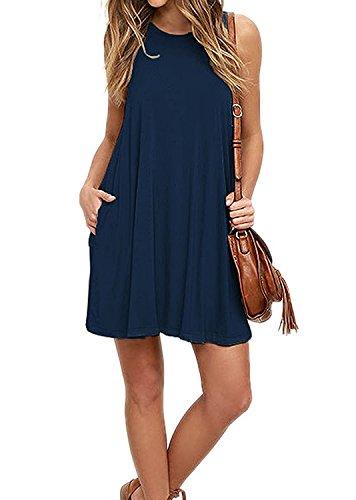 VIISHOW Women's Casual Plain Simple T-Shirt Pockets Loose Dress (S, 1Navy Blue)