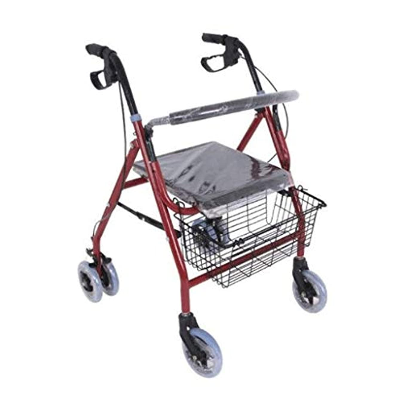 マリナー文化ふさわしい高齢者手押しショッピングカート、アルミウォーカー、滑り止めウォーカー4本足杖屋外バスルーム使用不可