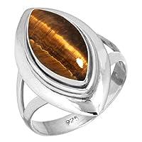 ナチュラル 虎 眼 女性たち 宝石 925 スターリング 銀 リング サイズ 13