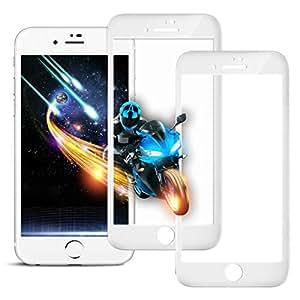 【2枚セット】iPhone8/iPhone7 ガラスフィルム Itayak 全面保護 目の疲れ軽減 3D フルカバー 液晶保護フィルム 強化 【日本製素材旭硝子製】 極薄0.3mm 9H硬度 指紋防止 耐衝撃 4.7インチ (iPhone7/8, ホワイト)