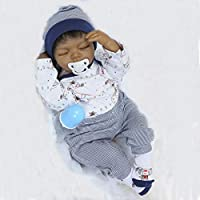 22 Inch 55cm Simulation Black Indian Style Soft Silicone Vinyl Reborn Doll Realistic Looking Baby Cotton Stuffed Body Lifelike Newborn Dolls Child Playmate Xmas Gift
